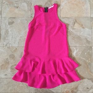 Lush Hot Pink Mini Dress with Ruffle Detail